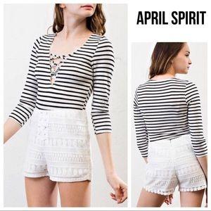 [April Spirit] Striped Lace Up V-Neck Shirt